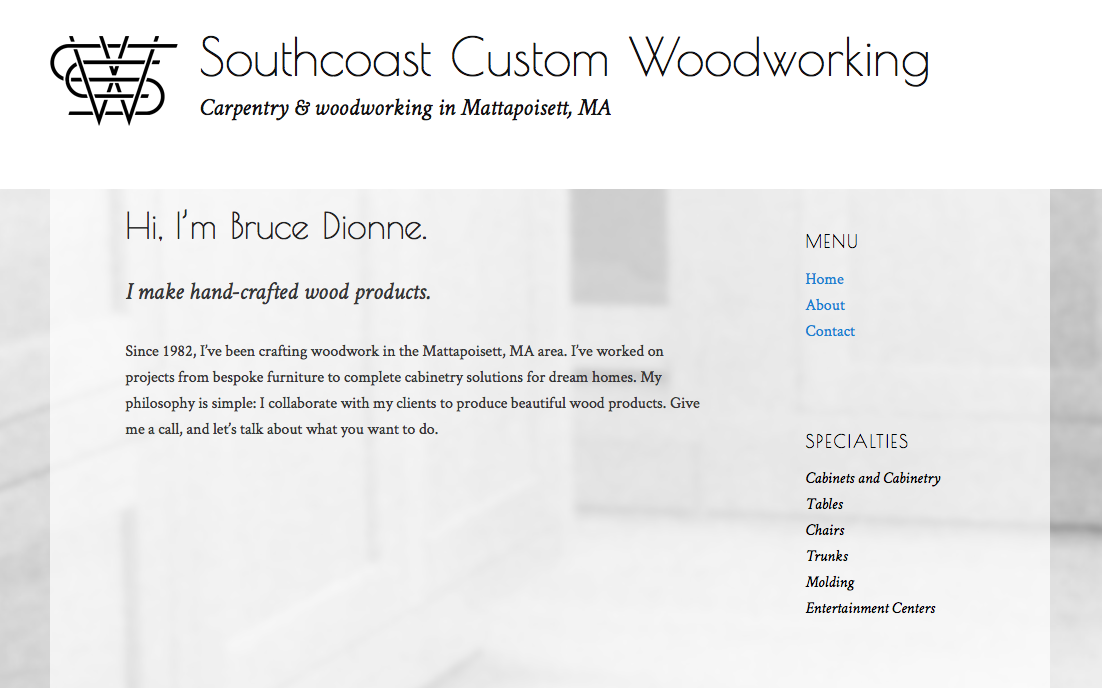 Home page of Southcoast Custom Woodworking.