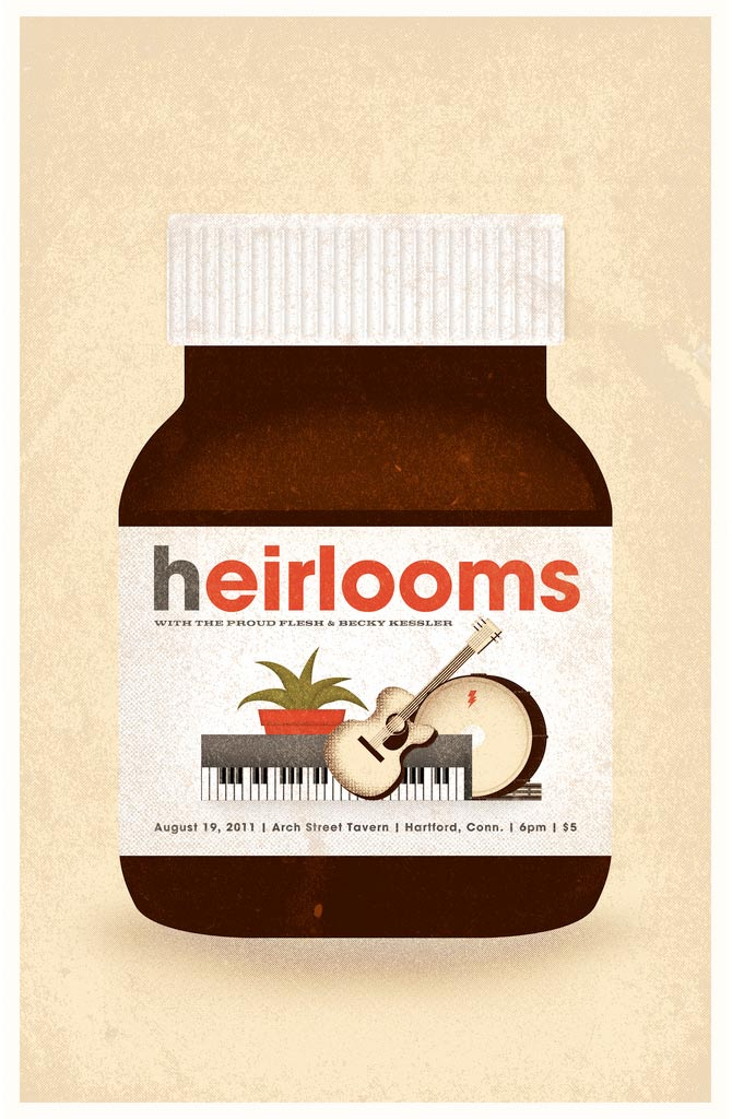 Heirlooms poster based on Nutella jar.