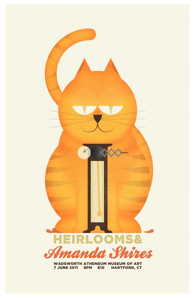 Heirlooms & Amanda Shires poster for their show at the Wadsworth Atheneum Museum of Art.