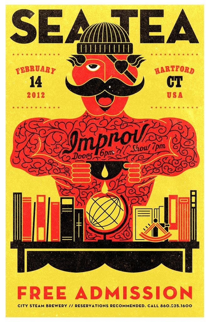 Sea Tea Improv Tattooed Man poster.