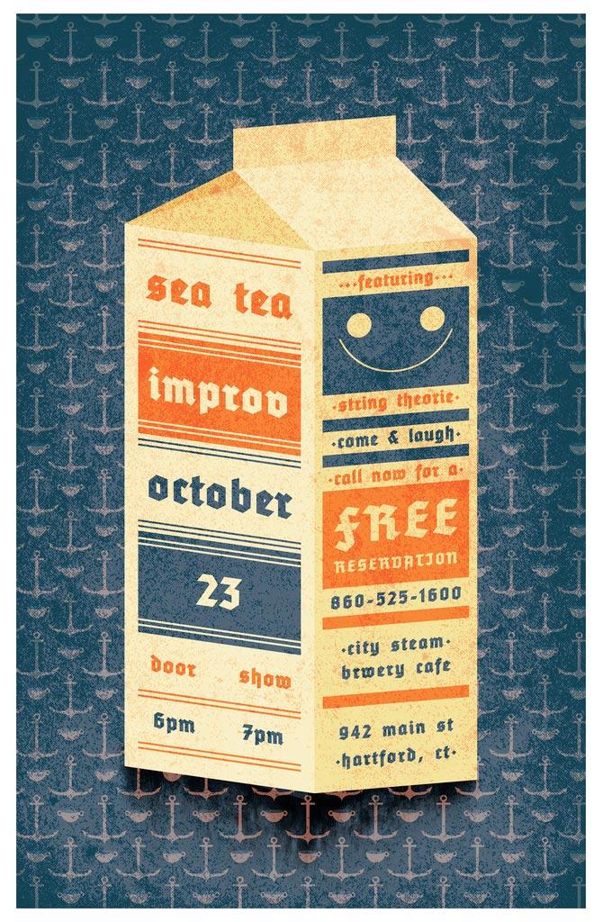 Sea Tea Improv Milk Carton poster.